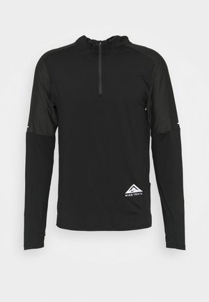 TRAIL HOODIE - Sports shirt - black/dark smoke grey/white