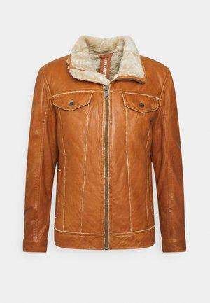 NILS - Leather jacket - camel/beige