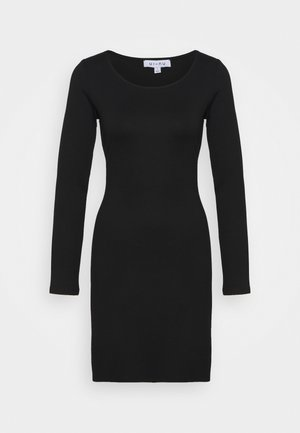 LONG SLEEVE BODYCON MINI DRESS - Vestito di maglina - black