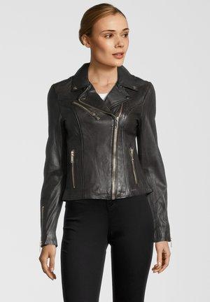 GHOST - Leather jacket - dark chocolate