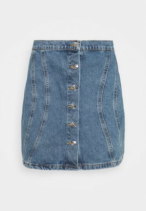 ONLRUBY LIFE PANEL - Mini skirt - medium blue denim