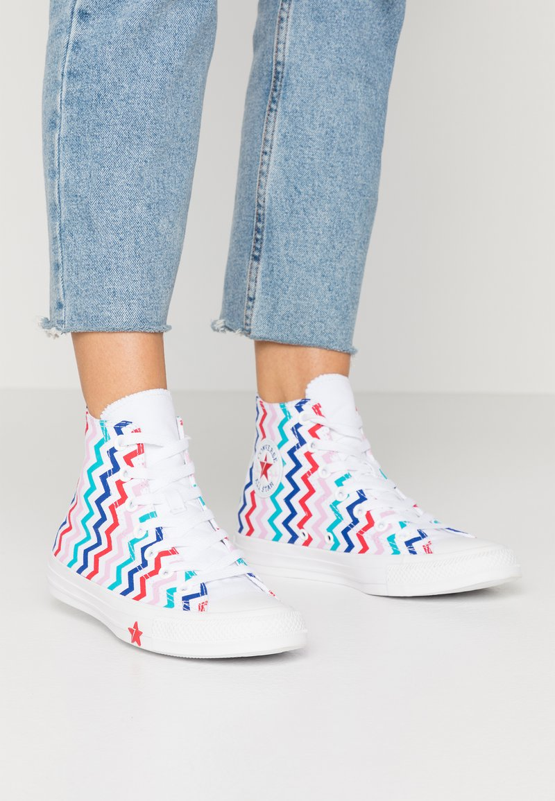 Converse - CHUCK TAYLOR ALL STAR - Baskets montantes - white/university red/peony pink