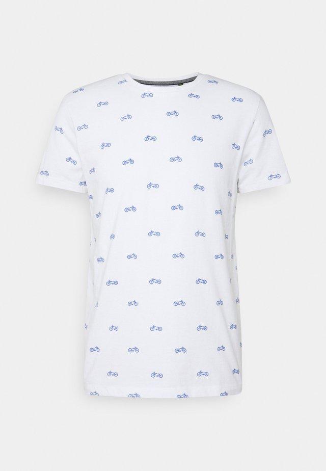 Print T-shirt - bright white / blue