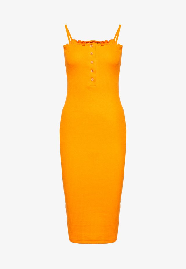 LETTUCE EDGE MIDI DRESS - Shift dress - orange