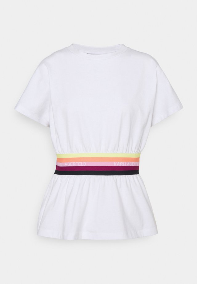 RIB INSERT  - Print T-shirt - white