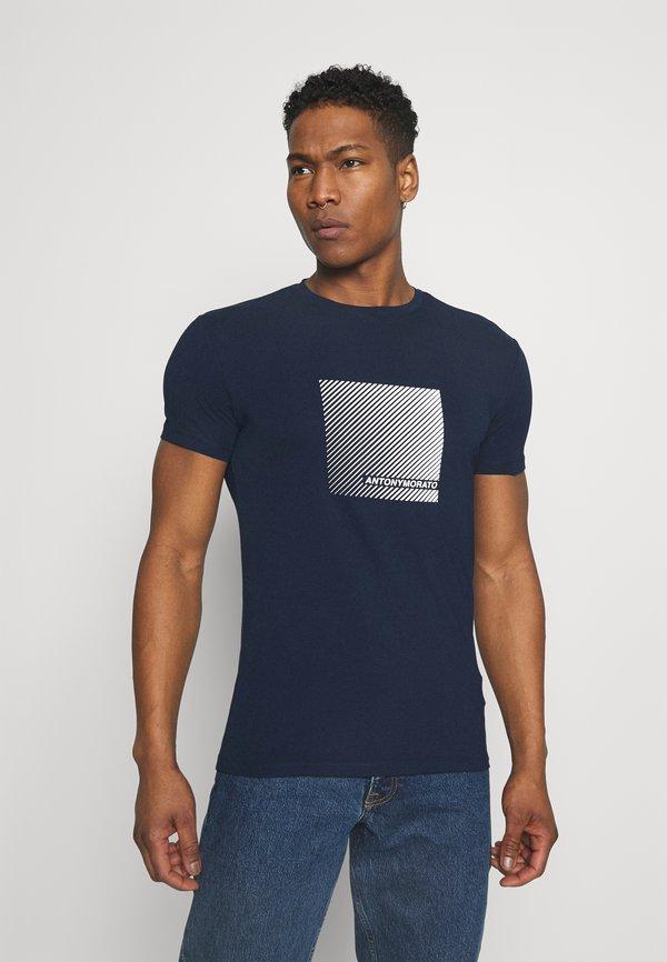 Antony Morato SUPER SLIM FIT - T-shirt z nadrukiem - avio blue/niebieski Odzież Męska QNZU