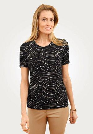 Print T-shirt - schwarz/beige/taupe