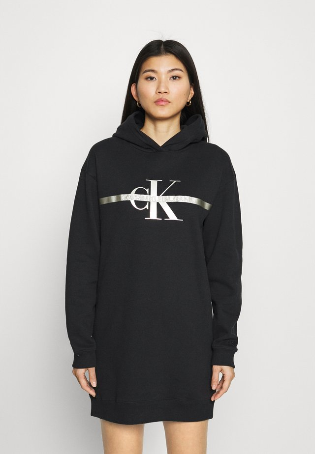 MONOGRAM HOODIE DRESS - Korte jurk - black