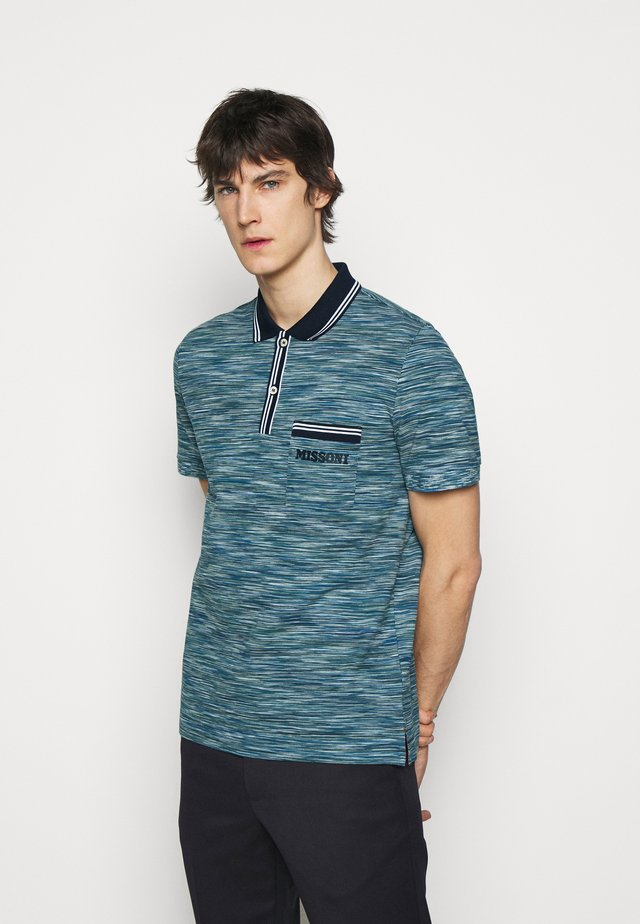 MANICA LUNGA - Poloshirt - blue/dark green/white