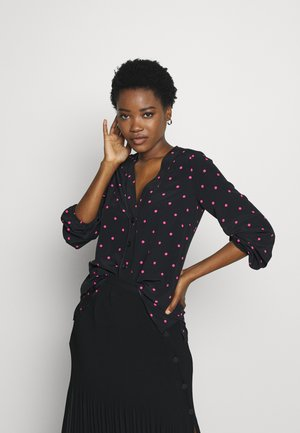 POLKA DOT BUTTON THROUGH SHIRT  - Blouse - black