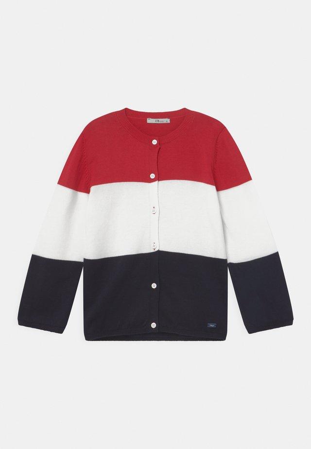 KORIGA - Cardigan - racing red/white/navy block