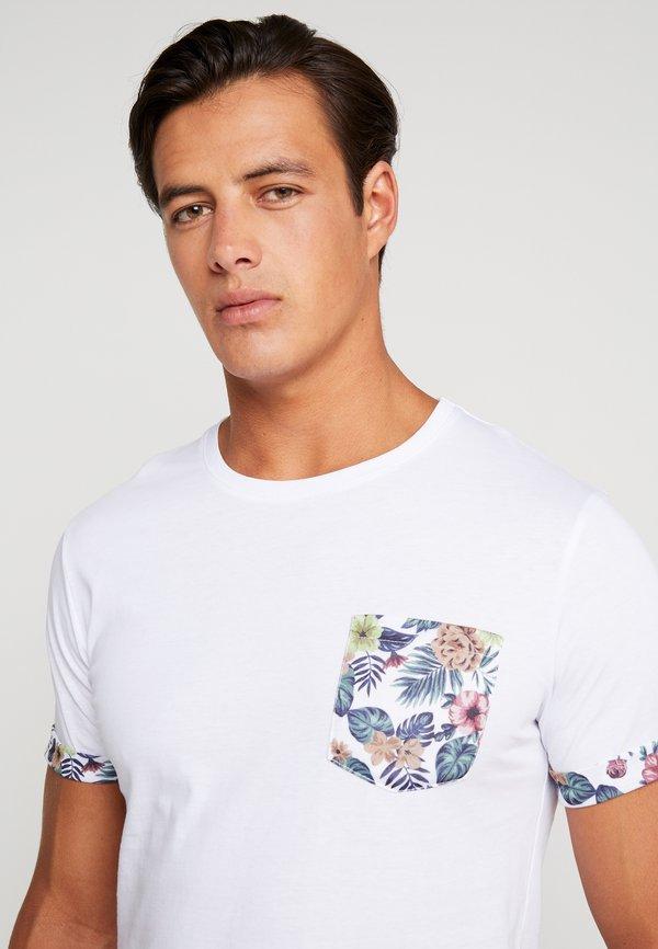 Pier One T-shirt z nadrukiem - white/biały Odzież Męska QTGF