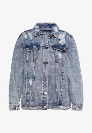 RIPPED OVERSIZED JACKET - Denim jacket - stonewash