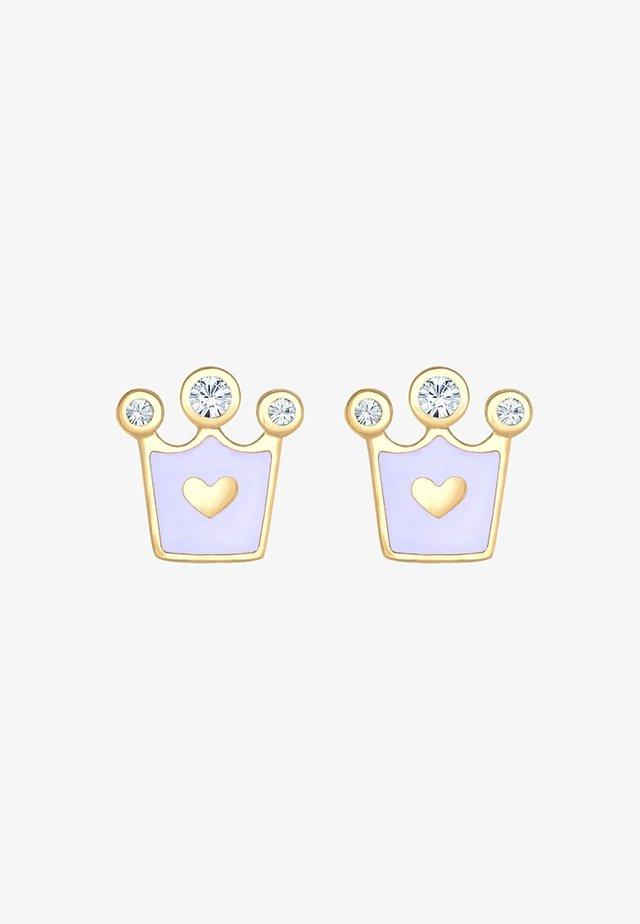 KINDER HERZ KRONE - Earrings - gold