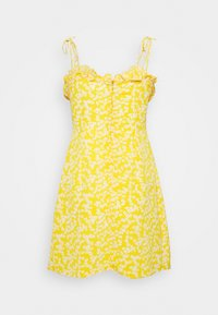 Glamorous - CARE PRINTED MINI DRESS WITH SHOULDER TIE DETAIL - Day dress - yellow - 1