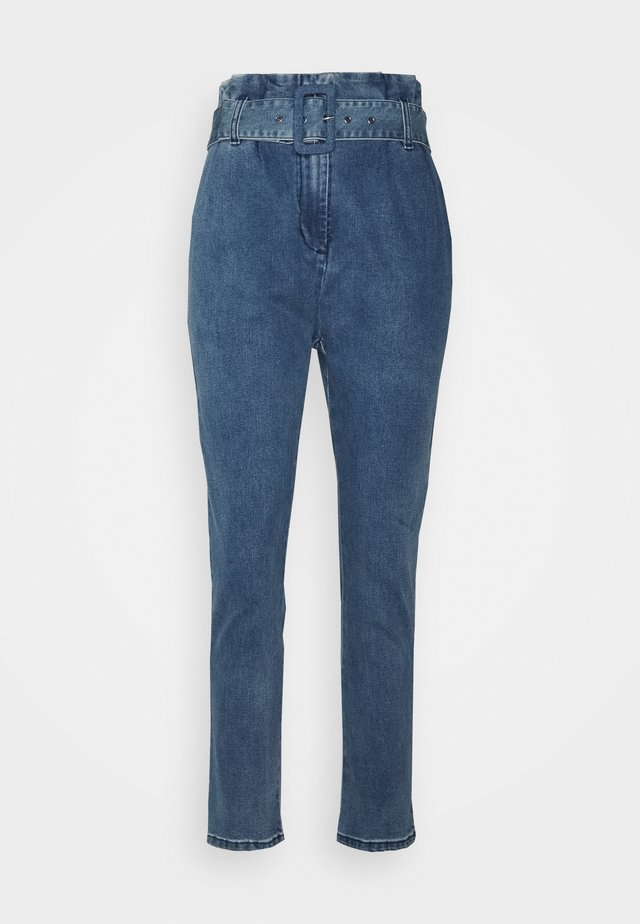 BROOKLYN PAPERBAG PANTS - Jeans Straight Leg - blue denim