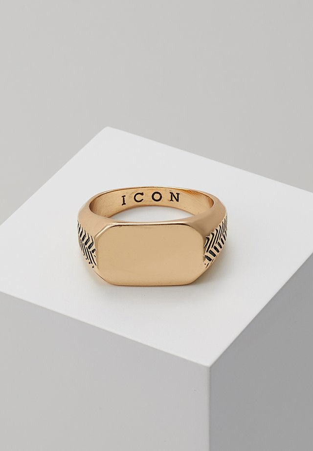 HERRING BONE SIGNET - Bague - gold-coloured