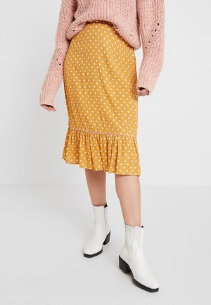 LEXY SKIRT - Jupe trapèze - mustard yellow/off-white