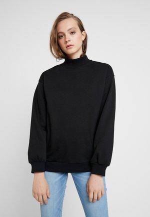 High Collar Sweatshirt - Sweater - black