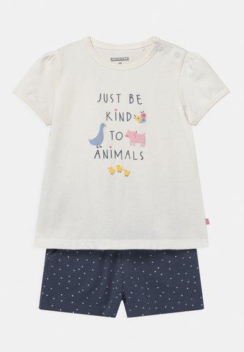SET - Print T-shirt - off-white/dark blue