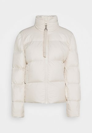 PUFFER JACKET SHORT STAND UP COLLAR ZIPP - Bunda z prachového peří - birch white