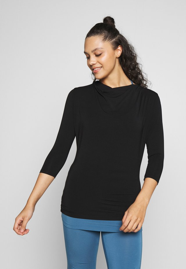 WATERFALL 3/4 SLEEVES - Top s dlouhým rukávem - black