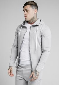 SIKSILK - DUAL STRIPE AGILITY ZIP THROUGH HOODIE - Mikina na zip - grey/white - 0