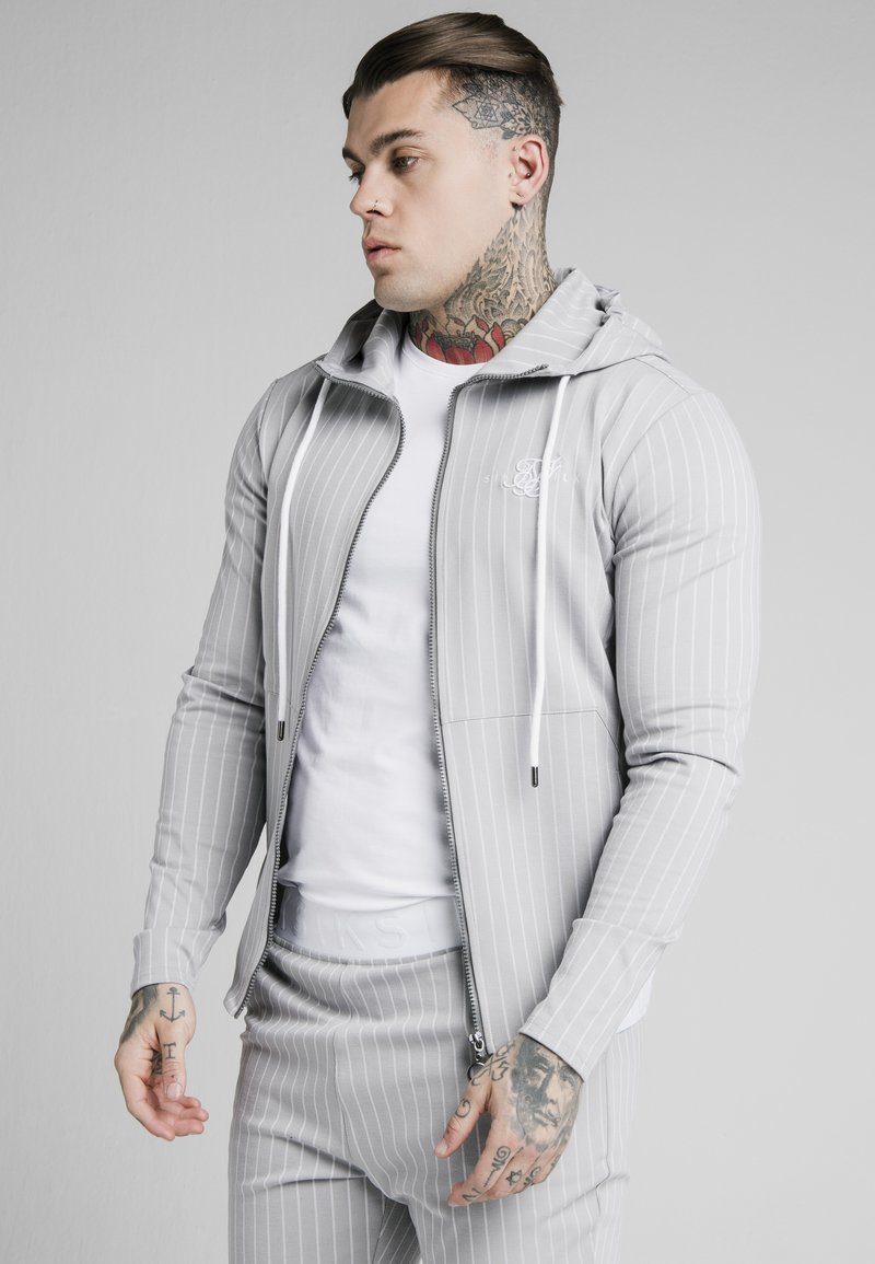 SIKSILK - DUAL STRIPE AGILITY ZIP THROUGH HOODIE - Mikina na zip - grey/white