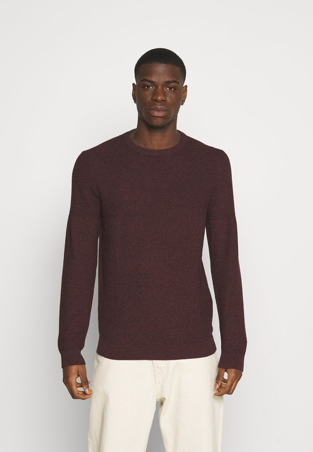 JPRBLACAMP STRUCTURE CREW NECK - Jumper - red mahogany/twisted black