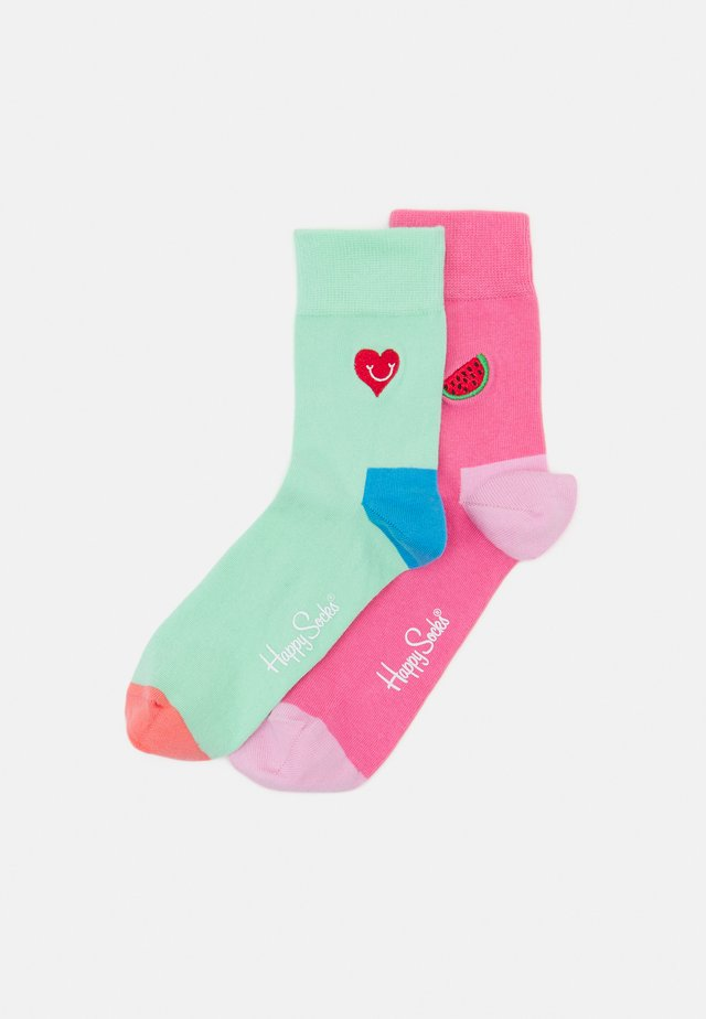 WATERMELON HALF CREW SOCK HEART HALF CREW UNISEX 2 PACK  - Sukat - multi-coloured