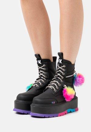VEGAN EVENING THE ODDS - Platform ankle boots - black matte/multi-coloured