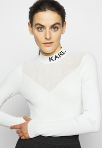 KARL LAGERFELD - POINTELLE LOGO  - Jumper - off-white - 3