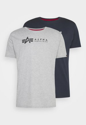ALPHA LABEL 2 PACK - Print T-shirt - grey heather/rep blue