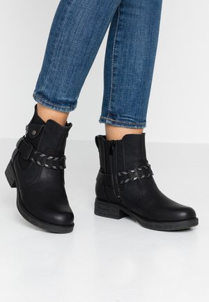 Cowboy/biker ankle boot - schwarz/altsilber