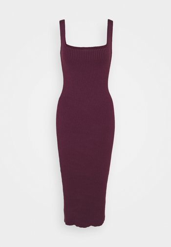 MIDI DRESS WITH WIDE STRAPS AND LOW SQUARE