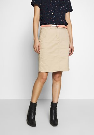 SKIRT BELTED - Pencil skirt - cream toffee