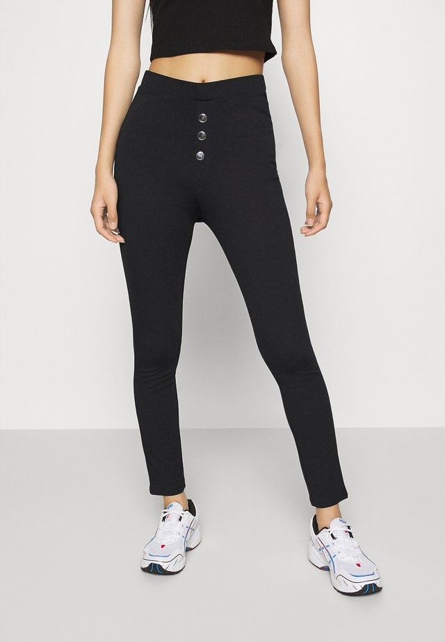 Front buttoned Leggings - Leggings - black