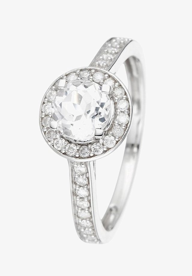 WHITE GOLD RING 9K CERTIFIED TOPAZ 0.90 CT AND 36 DIAMONDS HP1 0.34 CT - Bague - white