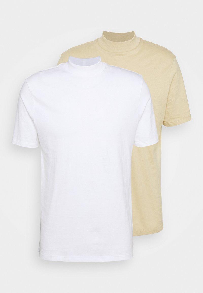 Topman - TURTLE 2 PACK - Basic T-shirt - white/beige