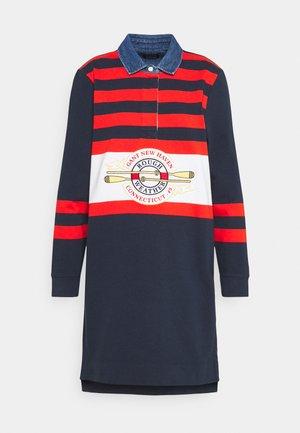 STRIPED HEAVY RUGGER DRESS - Day dress - marine