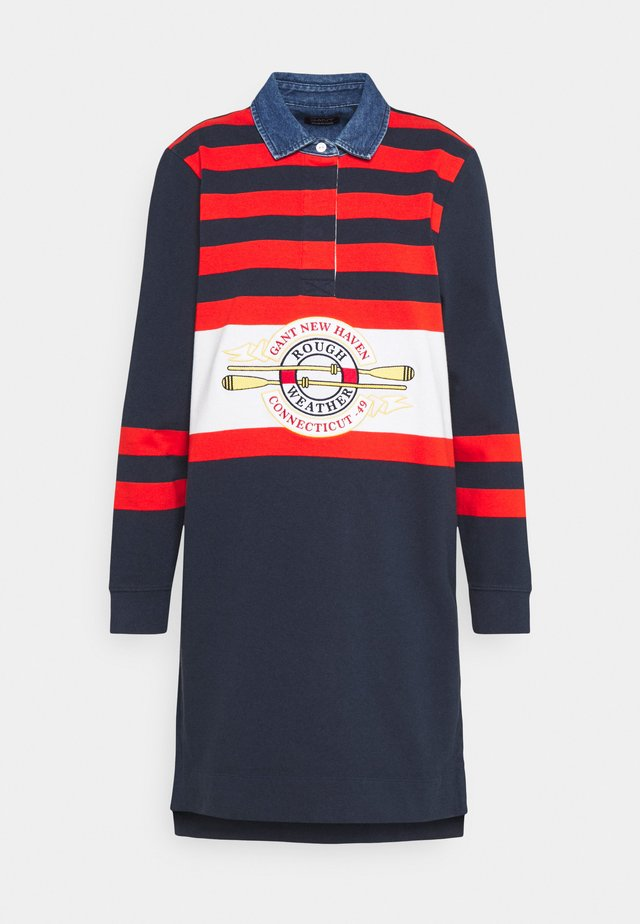 STRIPED HEAVY RUGGER DRESS - Sukienka letnia - marine