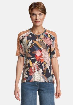 T-shirt print - dark blue/brown