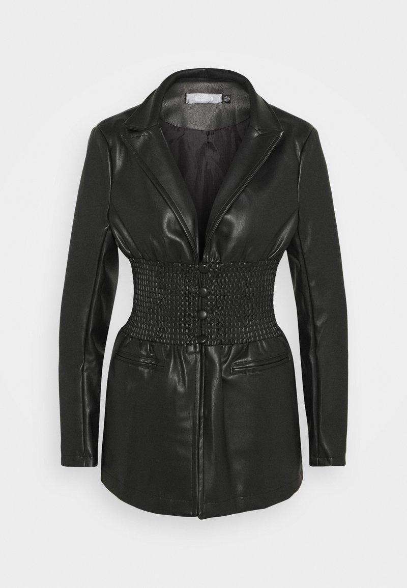 Missguided - SHIRRED WAIST - Blazer - black