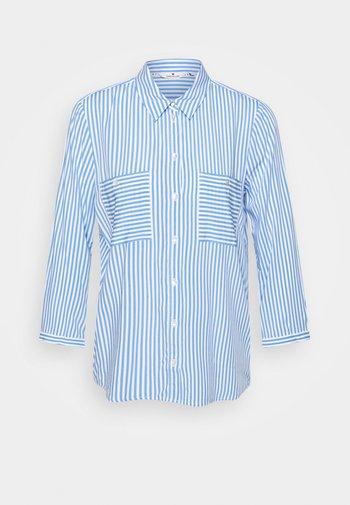 BLOUSE PRINTED STRIPE - Button-down blouse - blue