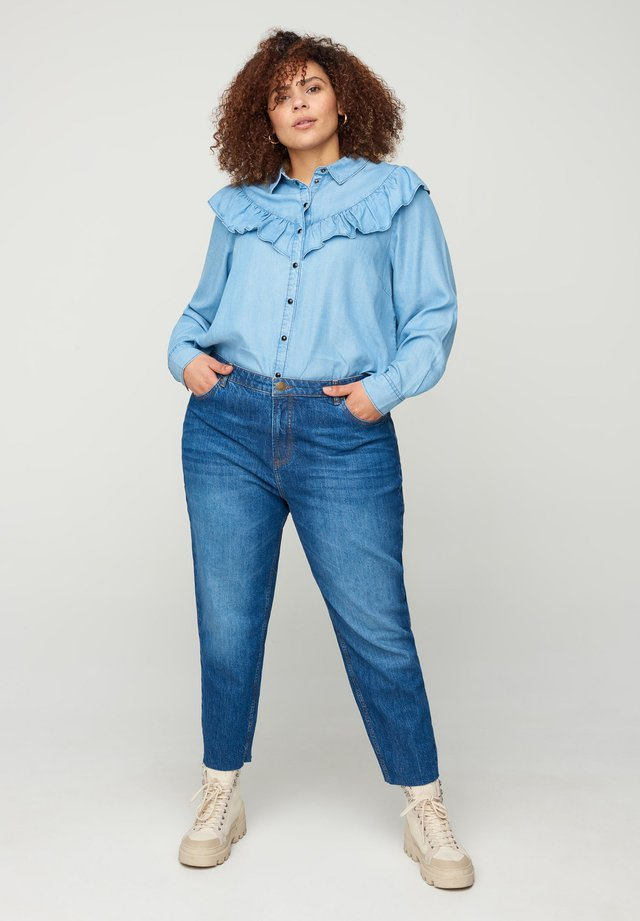 CROPPED MOM FIT MILLE - Jeans slim fit - blue
