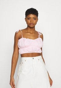 Missguided - TIE STRAP RUCHED CROP - Top - baby pink - 3