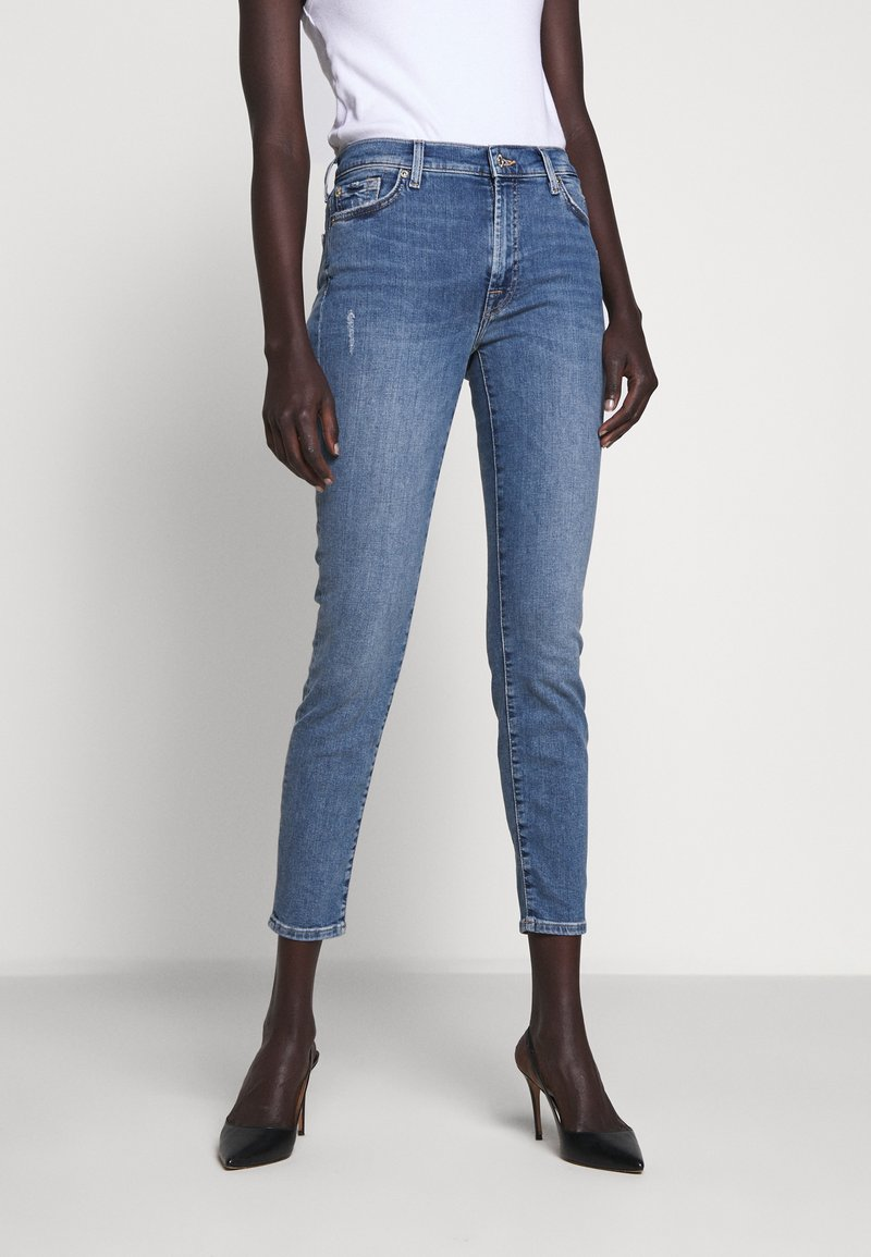 7 for all mankind - CROP - Jeans Skinny Fit - mid blue