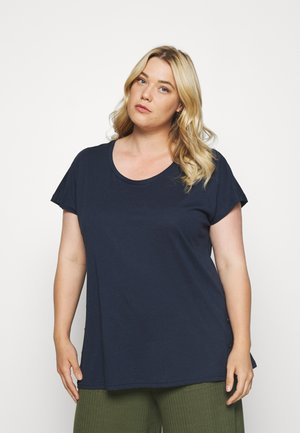 EFANNEY BUTTON TEE - Basic T-shirt - black iris