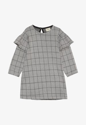 CHECK FRILL SLEEVE - Jersey dress - grey/black