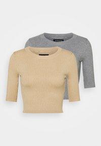 Even&Odd - 2 PACK - T-shirt basic - mottled grey/sand - 5